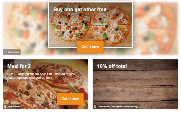 Advanced Promotions for online ordering menu