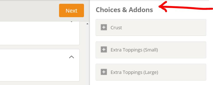 Choices and Add Ons